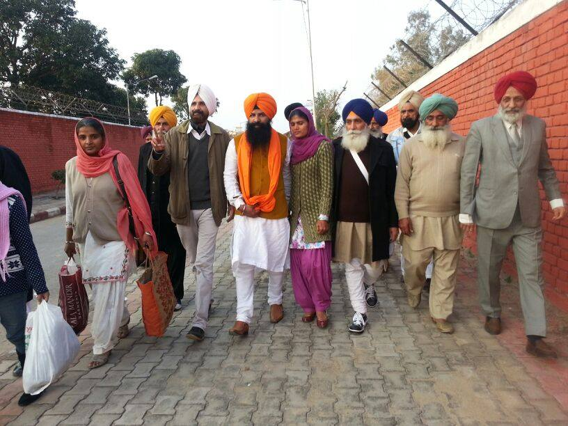 Bhai Lakhwinder Singh accompanied by his family members and others