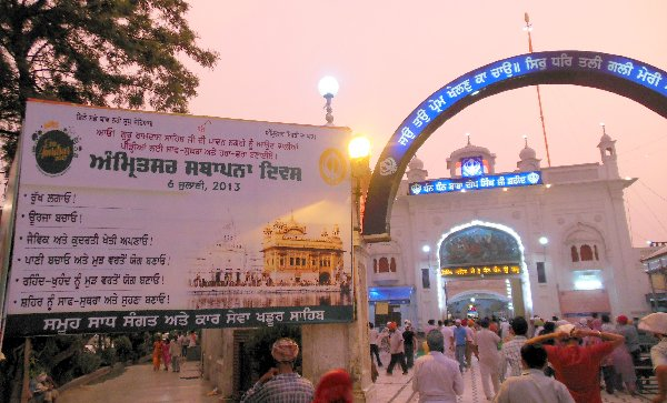 Bill Boards by Kar Sewa Khadoor Sahib, supporting Amritsar Foundation Day at Gurdwara Baba Deep Singh Shaheed