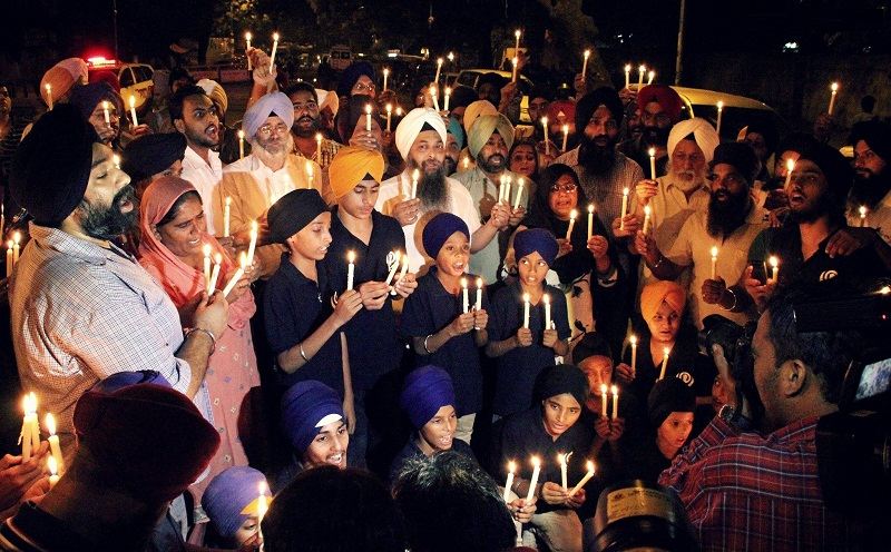 A view of Candle Light Vigil at held at Delhi