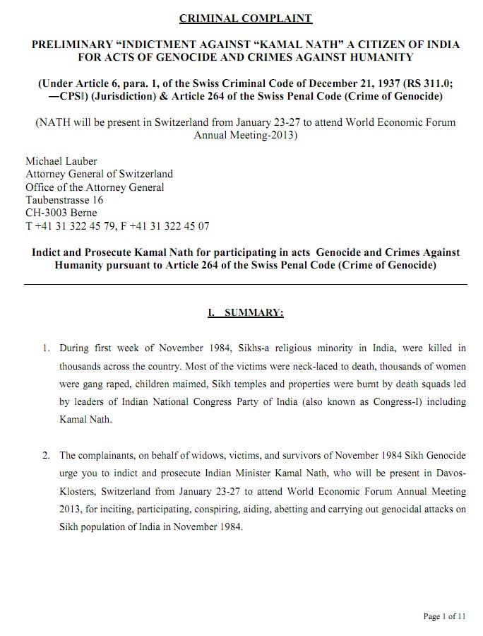 SFJ & MMR lodged criminal complaint against Kamal Nath in