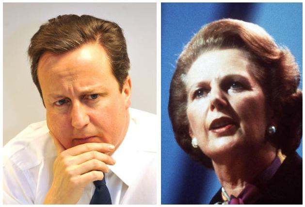 David Cameron (L) - Margaret Thatcher (R)