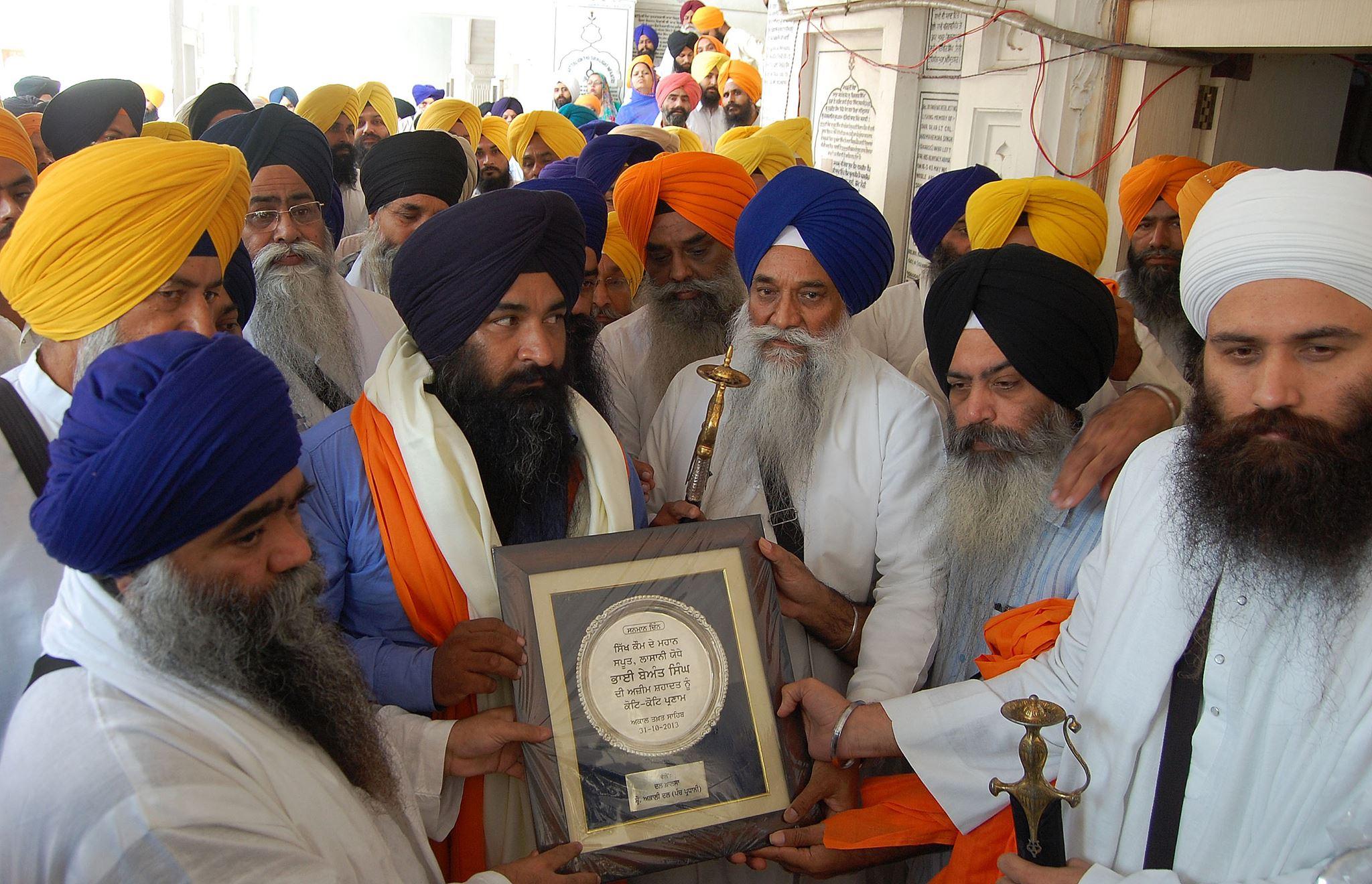 Shaheed Beant Singh's son Sarbjeet Singh honored at Akal Takht Sahib