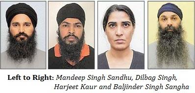 (Left to Right) Mandeep Singh Sandhu, Dilbag Singh, Harjeet Kaur and Baljinder Singh Sangha