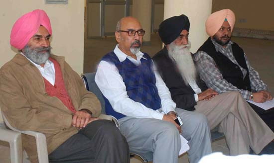 (L to R) S. Gurtej Singh (IAS), Mr. Shashi Kant, Advocate Harpal Singh Cheema and another addressing the press conference at Chandigarh.