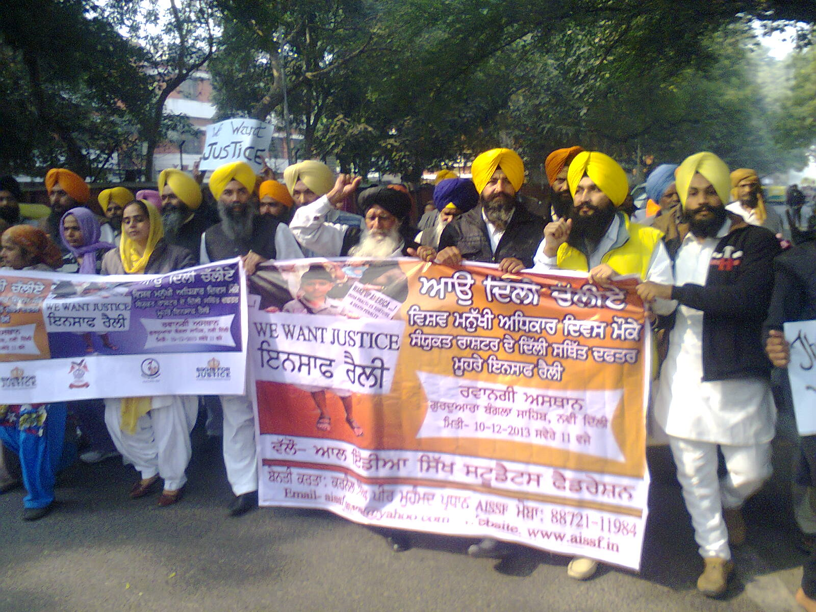 Victims of November 1984 Sikh genocide holding protest at Delhi on World Human Rights Day 2013