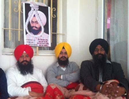 Rajbir Singh Tung, Iqbal Singh Patti and Karamjit Singh Pedro, who are on hunger strike in Paris