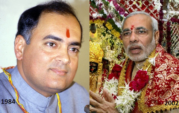Rajiv Gandhi and Narindra Modi