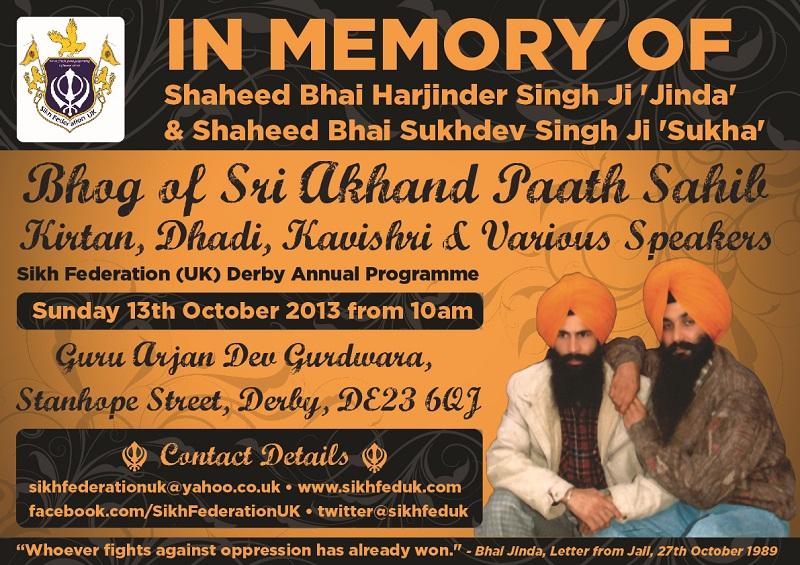 SFUK - Annual 'Bhai Jinda & Bhai Sukha' Derby Programme - 13.10.13