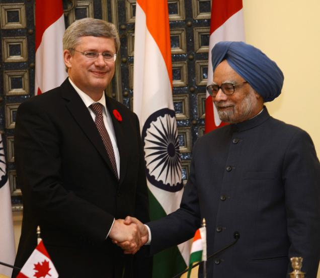 Stephen Harper with Manmohan Singh