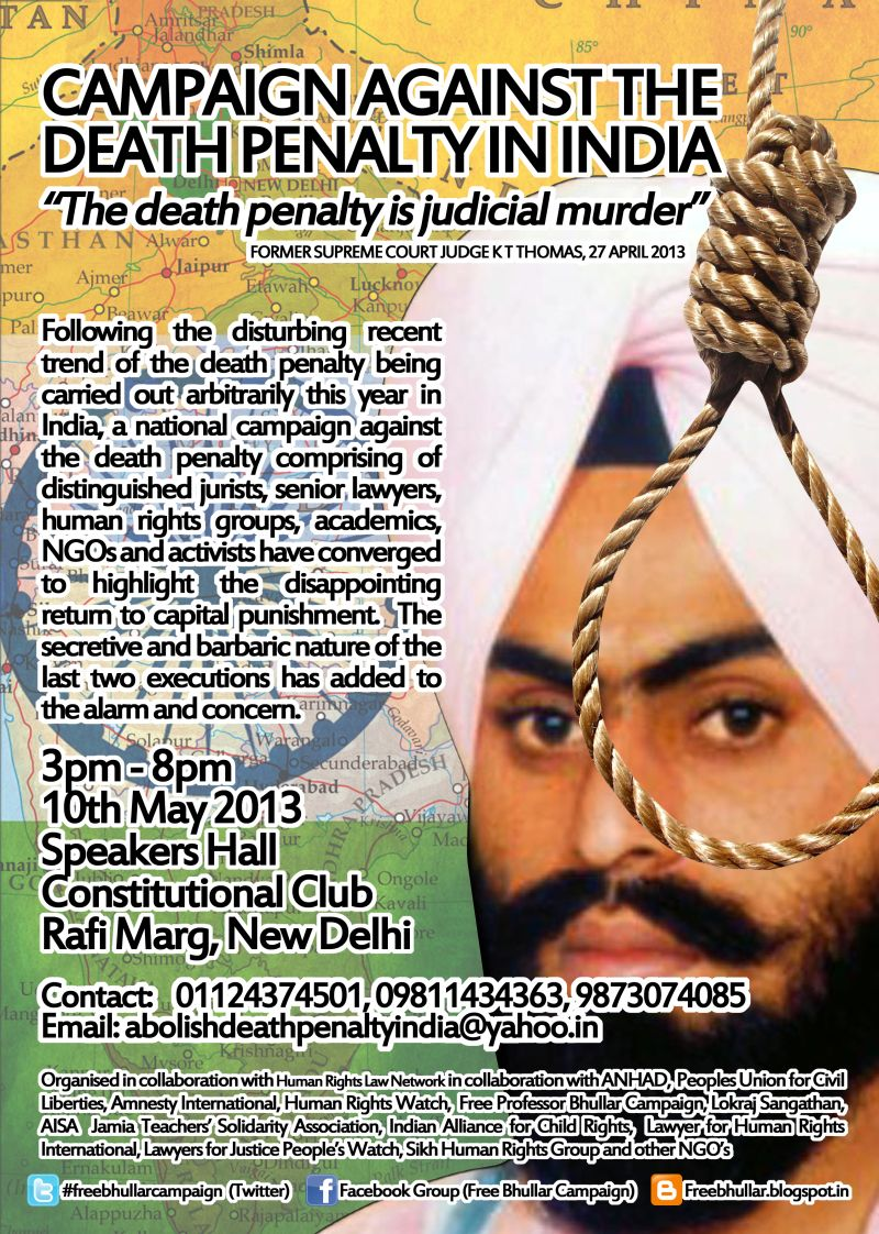 Campaign Against the Death Penalty in India - conference at Delhi on May 10