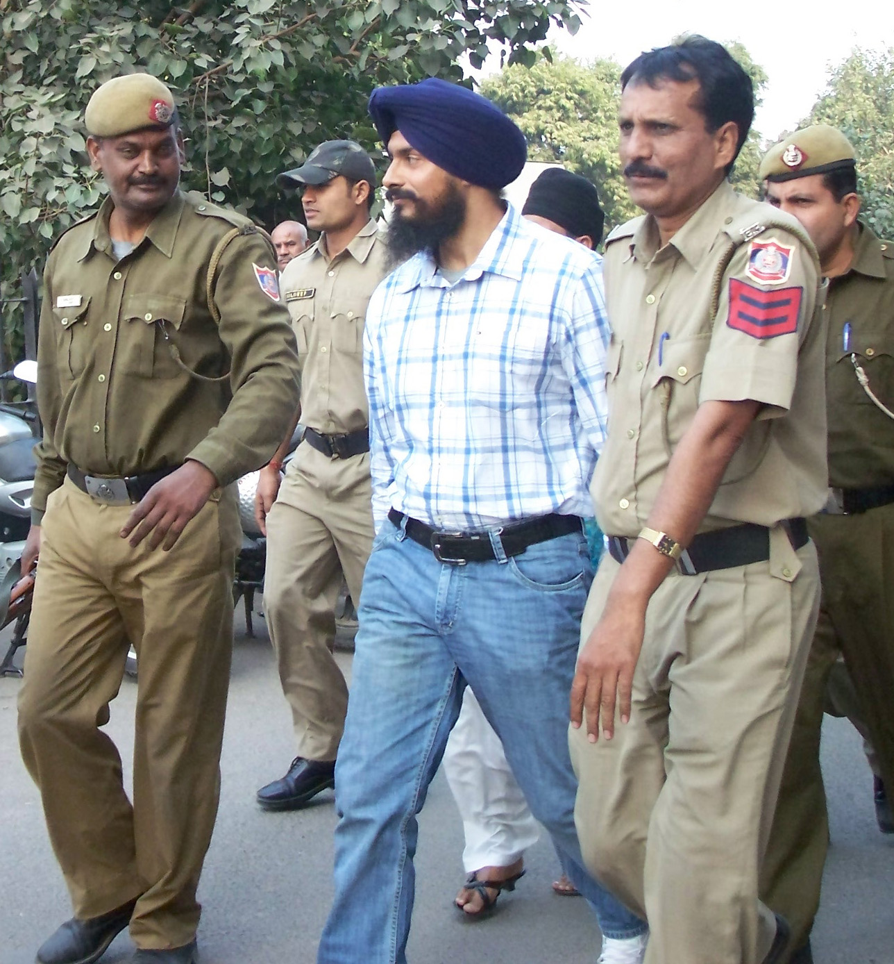 Bhai Jagtar Singh Hawara being presented before a Delhi Court